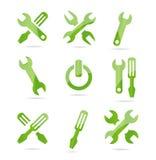 Abstracte industriële symbolen geplaatst groene kleur Stock Foto