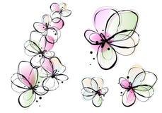 Abstracte waterverfbloemen, vector Stock Foto