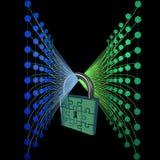 Abstracte Internet-veiligheidsachtergrond Cyber digitaal slot Vector illustratie royalty-vrije stock fotografie