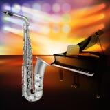 Abstracte jazzachtergrond met piano op muziekstadium Stock Afbeelding