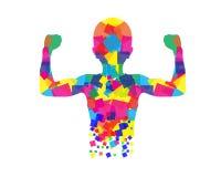 Abstracte Jongen die Bicepsenillustratie tonen Stock Fotografie