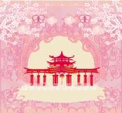 Abstracte kaart met Aziatische gebouwen, uitstekend kader stock illustratie
