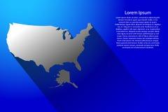Abstracte kaart van de Verenigde Staten van Amerika met lange schaduw op blauwe illustratie als achtergrond Stock Foto