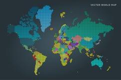 Abstracte kaart van de wereld met landen royalty-vrije illustratie