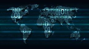 Abstracte kaartwereld met continenten van digitale binaire code inzake een donkergroene achtergrond met gloeiende transactielijne vector illustratie