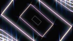 Abstracte kadertunnel met lijnen en rechthoeken op zwarte achtergrond, naadloze lijn animatie Hypnotically het bewegen van lijnen royalty-vrije illustratie