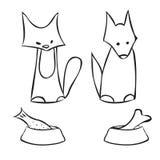Abstracte kat en hond Royalty-vrije Stock Fotografie