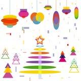 Abstracte Kerstboom met het speelgoed van Decoratieballen Royalty-vrije Stock Afbeeldingen