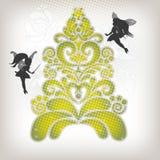 Abstracte Kerstboom met weinig fee, nieuw stem vóór Royalty-vrije Stock Foto's