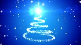 Abstracte Kerstboom Sneeuw het Vallen Stock Foto