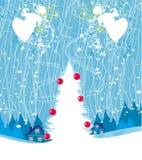 Abstracte Kerstkaart met engelen vector illustratie