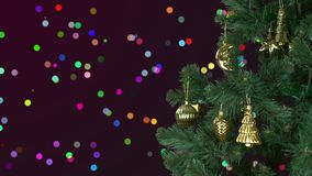 Abstracte Kerstmis als achtergrond viert De vooravond van de Kerstmisvakantie Groene spar met gouden decor Groetkerstmis en stock video