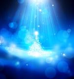 Abstracte Kerstmis blauwe achtergrond van de kunst Stock Fotografie