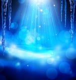 Abstracte Kerstmis blauwe achtergrond van de kunst Stock Afbeeldingen