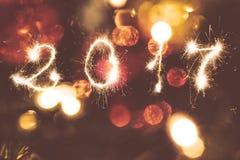 Abstracte Kerstmis en nieuwe jaar 2017 achtergrond bokeh Royalty-vrije Stock Afbeelding