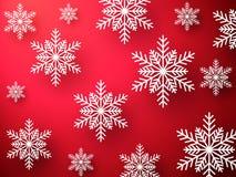 Abstracte Kerstmis rode achtergrond met sneeuwvlokken 2018 viert achtergrond Stock Foto's