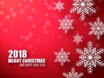 Abstracte Kerstmis rode achtergrond met sneeuwvlokken 2018 viert achtergrond Royalty-vrije Stock Afbeelding