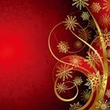 Abstracte Kerstmis Rode en Gouden Achtergrond Royalty-vrije Stock Foto