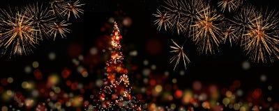 Abstracte Kerstmisboom in de nacht Royalty-vrije Stock Afbeelding