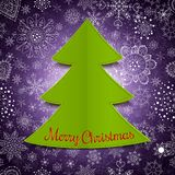Abstracte Kerstmisboom en violette achtergrond Royalty-vrije Stock Foto