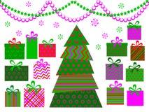 Abstracte Kerstmisboom met giften Royalty-vrije Stock Afbeeldingen
