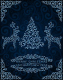 Abstracte Kerstmiskaart met pijnboomboom en deers Royalty-vrije Stock Afbeelding