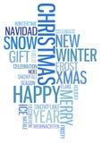Abstracte Kerstmiskaart met teksten Stock Afbeeldingen