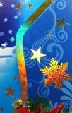Abstracte Kerstmissneeuwvlokken en sterren als achtergrond Royalty-vrije Stock Afbeelding