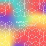 Abstracte kleuren hexagonale achtergrond Witte kubussen op gekleurde achtergrond Stock Foto's