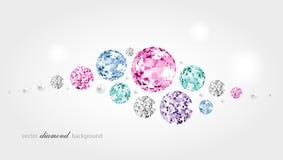 Abstracte kleurenachtergrond met diamanten en parels Royalty-vrije Stock Foto
