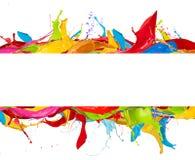 Abstracte kleurenplonsen op witte achtergrond Royalty-vrije Stock Fotografie