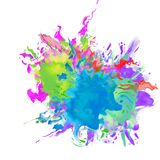 Abstracte kleurenvlekken van vloeistof, plonsen van verf stock illustratie