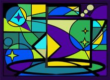 Abstracte kleurrijke achtergrond, blauwe lichte, buitensporige geometricsvormen, gebrandschilderd glasvenster - 18-94 stock illustratie
