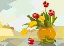 Abstracte kleurrijke achtergrond, bloemvaas, rode gele tulp-18-143 stock afbeeldingen
