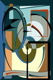 Abstracte kleurrijke achtergrond, buitensporig gebogen vormen bruin grijs blauw 17 -271 B Royalty-vrije Stock Foto
