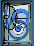 Abstracte kleurrijke achtergrond, buitensporig gebogen vormen groen grijs blauw 17 -271 Stock Afbeelding