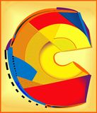 Abstracte kleurrijke achtergrond, hoofdletter C Stock Foto