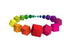 Abstracte kleurrijke achtergrond met 3d element Stock Afbeelding