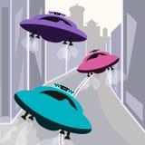Abstracte kleurrijke achtergrond met het vliegen ufo voor ontwerp royalty-vrije stock afbeeldingen