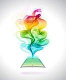 Abstracte kleurrijke achtergrondboekpictogram en golf Stock Fotografie