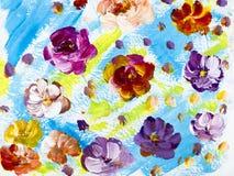 Abstracte kleurrijke bloemen, hand geschilderde achtergrond royalty-vrije illustratie