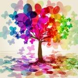 Abstracte kleurrijke Boom. Stock Afbeeldingen