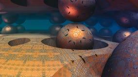 Abstracte kleurrijke 3D gebiedfractal illustratie met blauwe achtergrond royalty-vrije illustratie