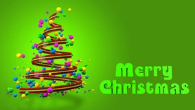 Abstracte Kleurrijke 3D Kerstboombanner stock afbeelding