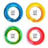 Abstracte kleurrijke de borstelachtergrond van de cirkelwaterverf, vector tem Royalty-vrije Stock Foto