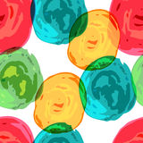 Abstracte kleurrijke de borstelachtergrond van de cirkelwaterverf, vectoroverzees Stock Foto