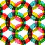 Abstracte kleurrijke de borstelachtergrond van de cirkelwaterverf, vectoroverzees Stock Afbeelding