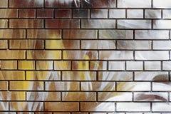 Abstracte kleurrijke gele, witte, bruine bakstenen muur stock fotografie