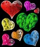 Abstracte kleurrijke harten Stock Foto's