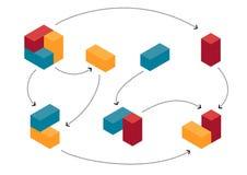 Abstracte kleurrijke kubussen in evoluerende vooruitgang royalty-vrije illustratie